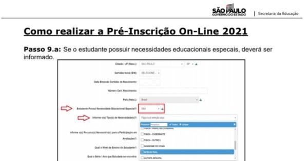 Captura de Tela 2021 03 25 às 11.20.55 Pré-Inscrição online 2021 para Matrícula Rede Pública de Ensino São Paulo