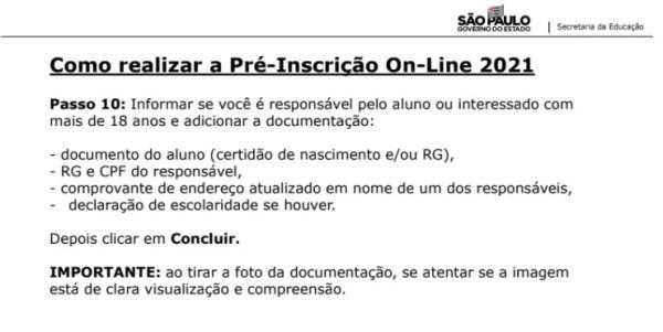 Captura de Tela 2021 03 25 às 11.21.45 Pré-Inscrição online 2021 para Matrícula Rede Pública de Ensino São Paulo