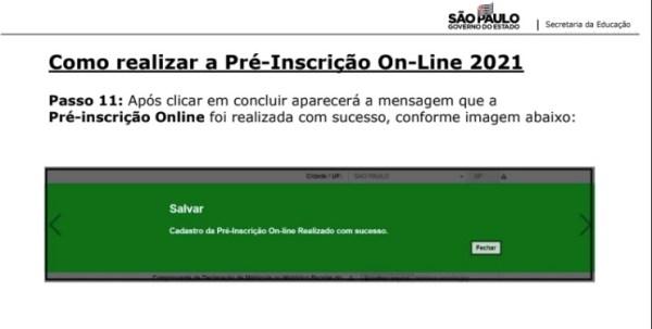 Captura de Tela 2021 03 25 às 11.22.17 Pré-Inscrição online 2021 para Matrícula Rede Pública de Ensino São Paulo