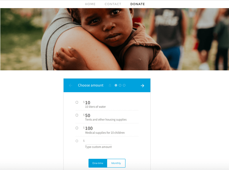 wix website donation form