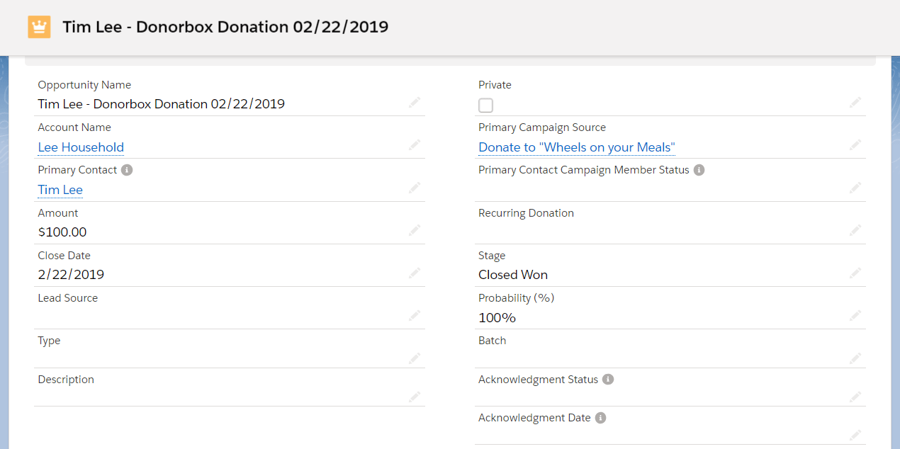 Salesforce Nonprofit Integration w/ Donorbox Donation Form