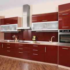Designing Kitchens 33x19 Kitchen Sink The Best 24 Ideas Of One Wall Layout And Design Bold Red With Contrast From Wood Flooring