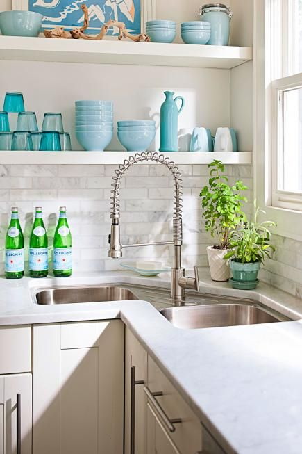 open kitchen sink country curtains for corner design ideas your perfect home shabby chic