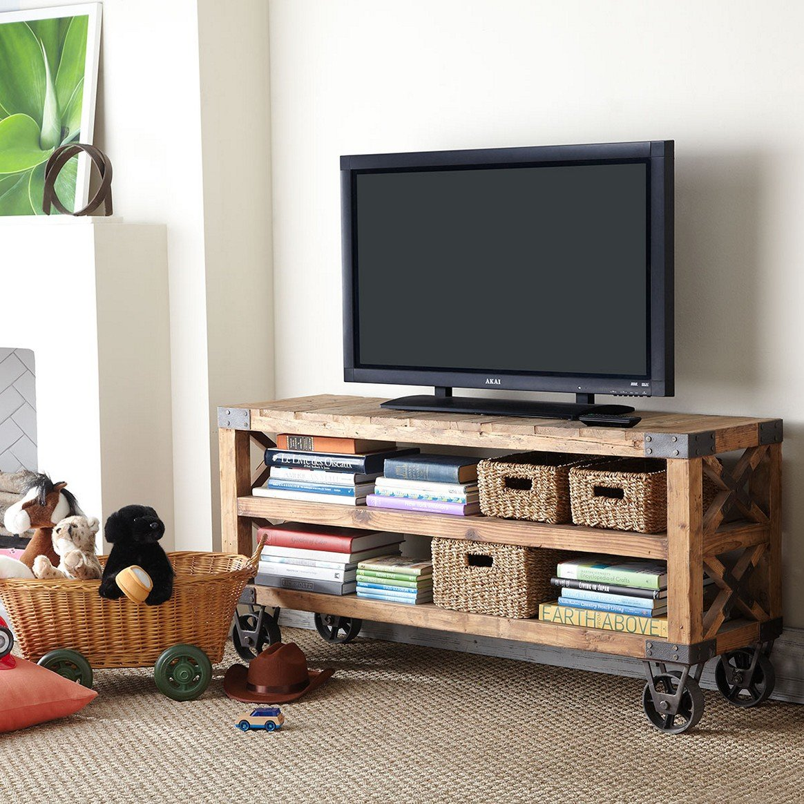 living room tv stand ideas white leather sectional 21 diy for your weekend home project moveable with wheels