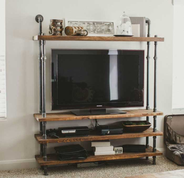 living room tv stand ideas black and white chairs 21 diy for your weekend home project pipeline wood