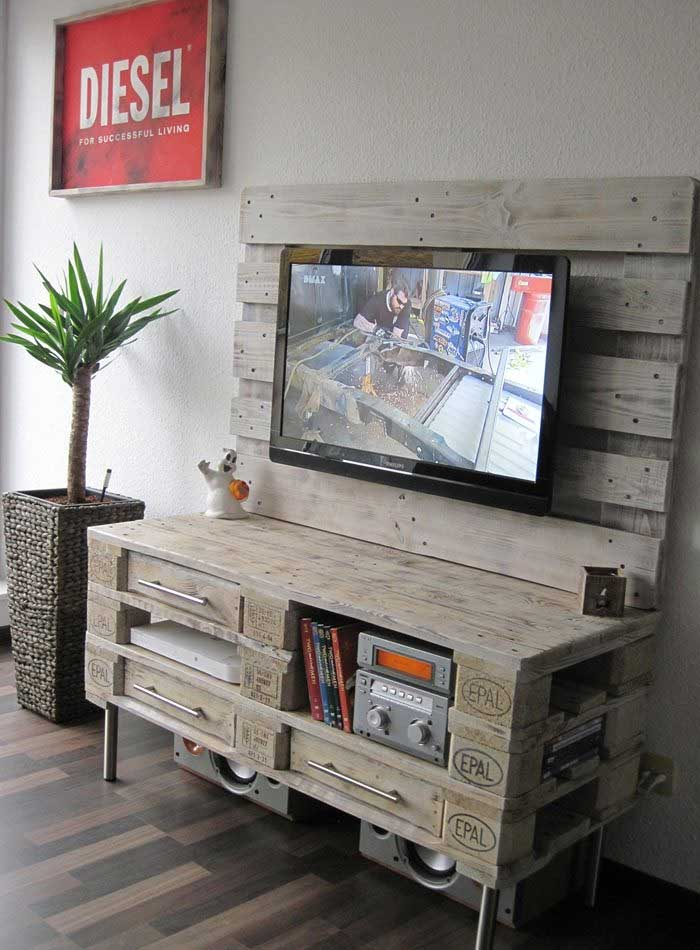living room tv stand ideas craftsman style furniture 21 diy for your weekend home project patterned pallet television frame