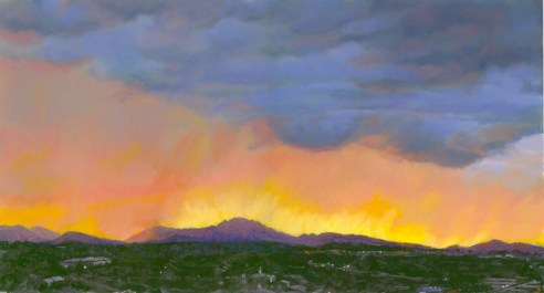 Granite Mountain Sunset by Western pastel landscape artist Don Rantz