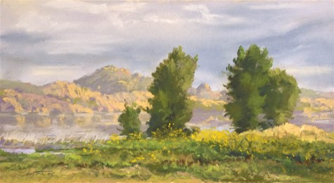 Three Trees at Willow Lake by Western pastel landscape artist Don Rantz