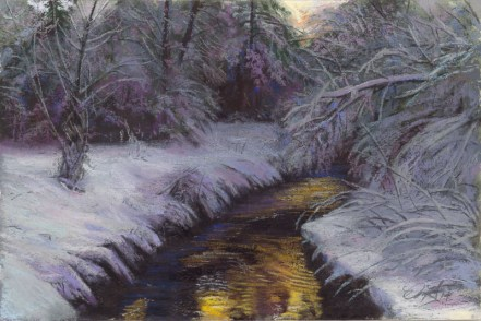 Winter Stream by Western pastel landscape artist Don Rantz