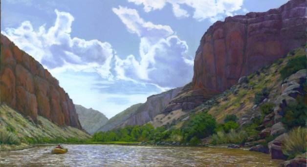Downriver by Western pastel landscape artist Don Rantz