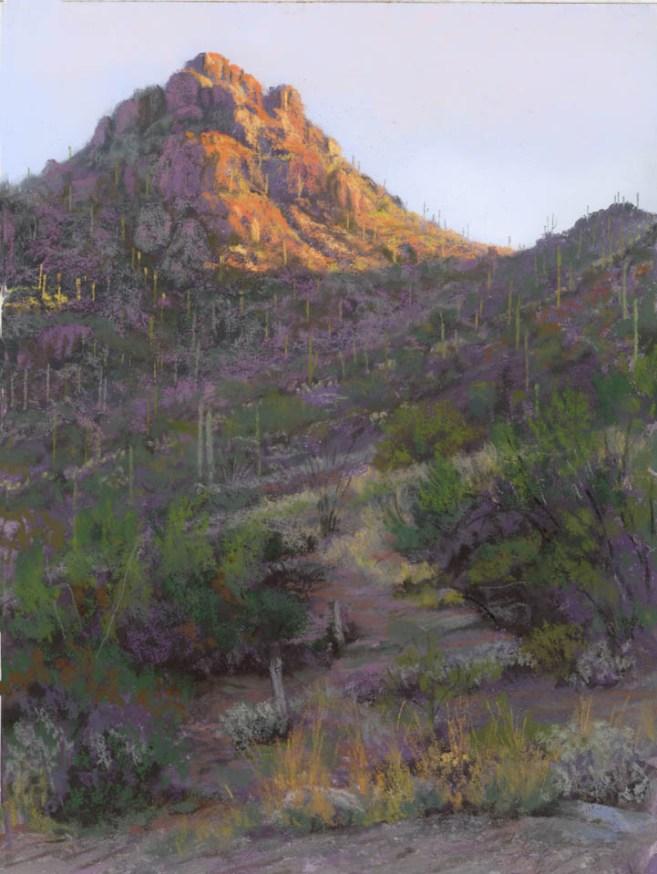 Gates Pass at Sunrise by Western pastel landscape artist Don Rantz