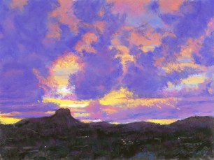 Purple Sunset by Western pastel landscape artist Don Rantz