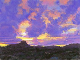 Purple Sunset by Western pastel landscape artist Don Rantz
