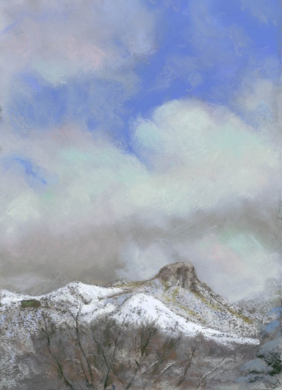 Thumb Butte in January by Western pastel landscape artist Don Rantz