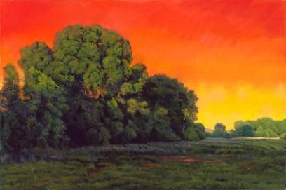 Willow Lake in Orange by Western pastel landscape artist Don Rantz