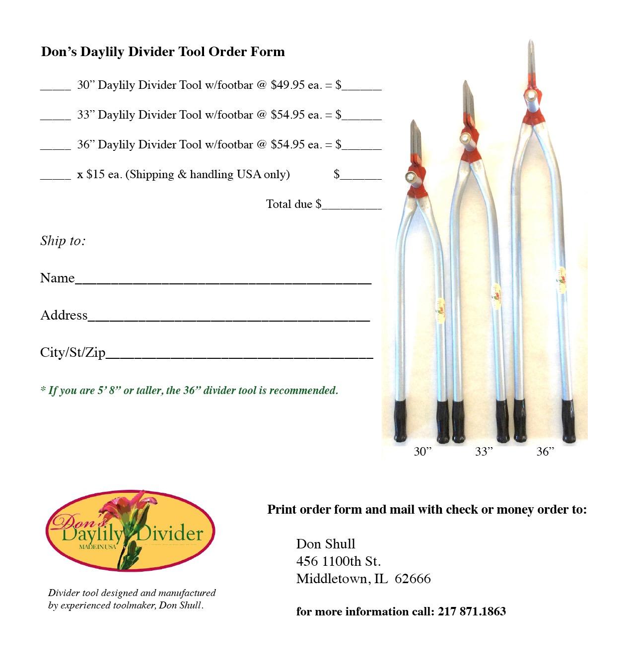 Printable Order Form   Don's Daylily Divider