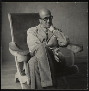 Luis Barragán seating on a Miguelito Armchair