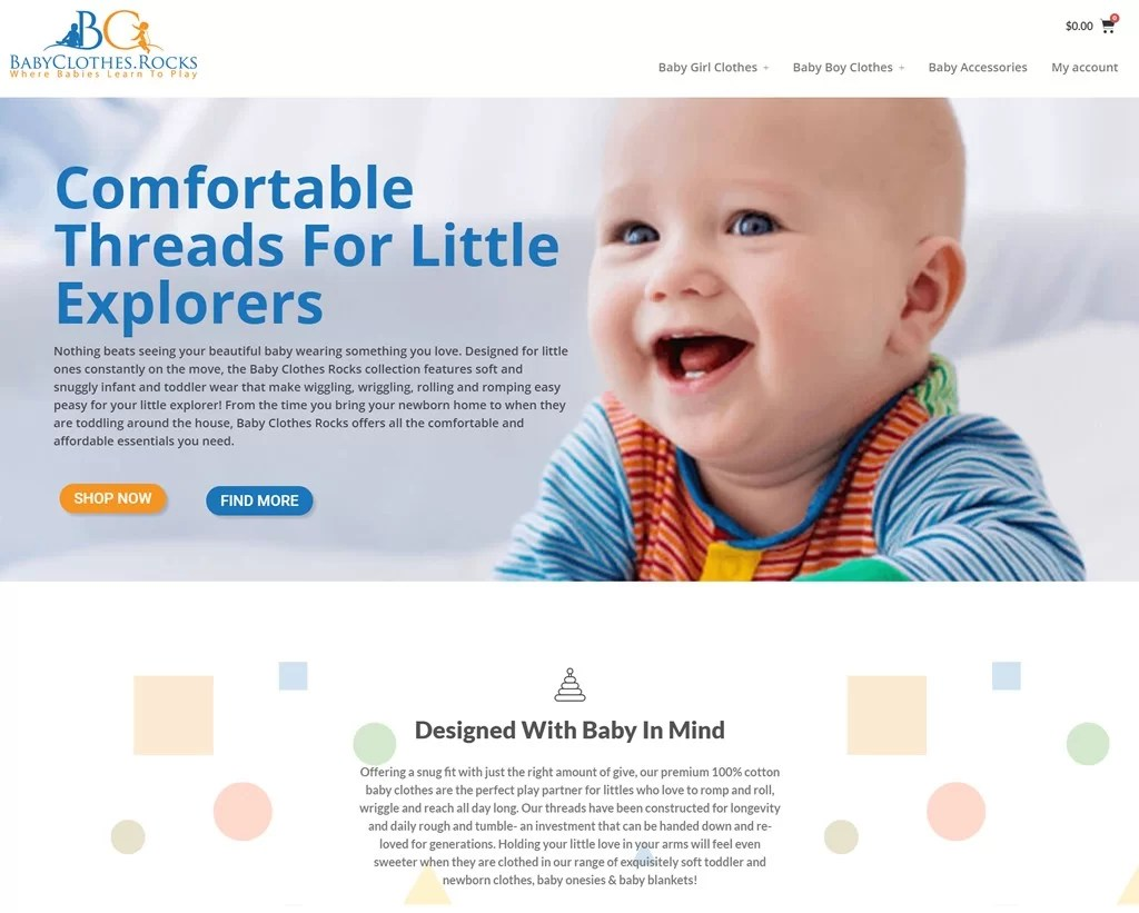 Babyclothes.rocks Custom Design - Full Website - Woocommerce