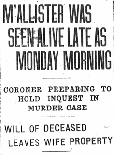 January 14, 1925 – M'Allister was Seen Alive Late as Monday Morning