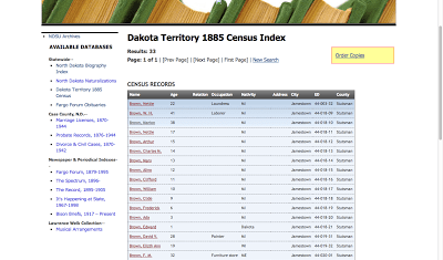 Screen shot of Dakota Territory 1885 Census Index with W. H. Brown family