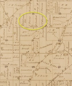 Map of Saline Village showing Sanford farm, 1874