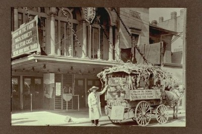 "Photo of the Palace Theatre with a wagon in front advertising ""Down on the Farm"" - about 1920."