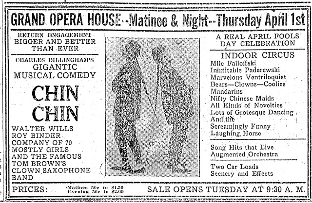 """Donna Montran and """"Chin Chin"""" play at the Grand Opera House in Canton, Ohio on 1 April 1920"""