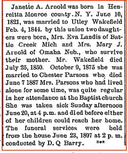 Newspaper Clipping - Obituary - Janette A. Arnold Wakefield Parsons