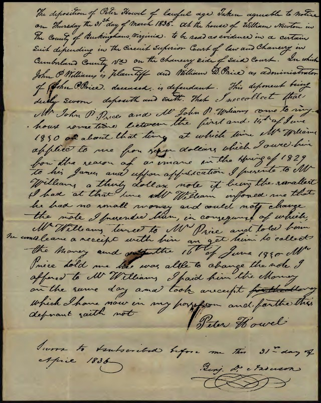 Image of the Peter Howell Deposition in the John P. Williams vs John P. Price 1839 Virginia Chancery case.