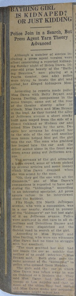 newspaper clipping: Bathing Girl Is Kidnaped or Just Kidding