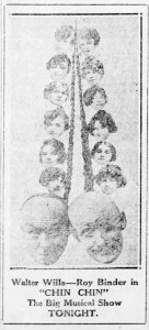 """Ad showing Walter Wills, Roy Bender, & key cast members of """"Chin Chin"""""""