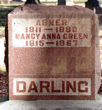 Marker - Abner & Nancy Anna Green. Photo Source: Photo by Jeanne Weiland, Find a Grave ID 4907152 via Find-a-Grave.