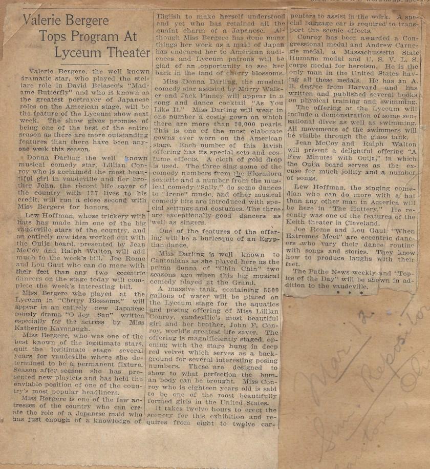 Newspaper article from 1922 - Valerie Bergere Tops Program at Lyceum Theater