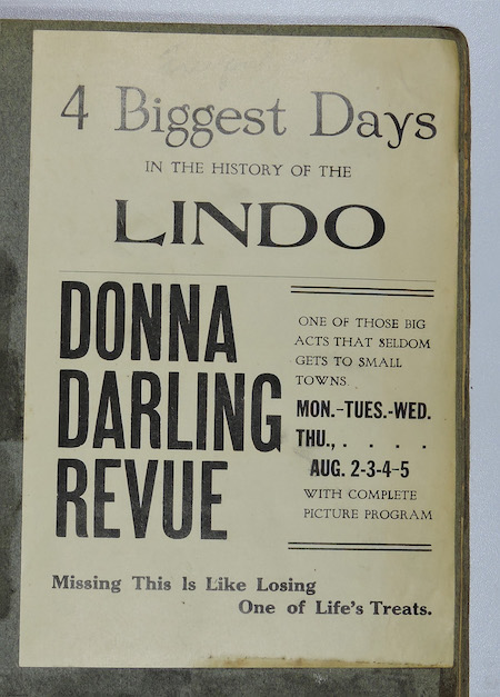 A clipping of an ad of the Donna Darling Review playing at the Lindo Theatre