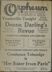display ad for Donna Darling's Review playing at the Orpheum Theatre