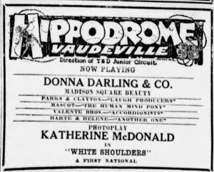 Ad showing Donna Playing at the Hippodrome, Sacramento, on 4 June 1924.