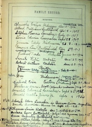 image of the Daisy Butterfield Bible - Births - Page 2