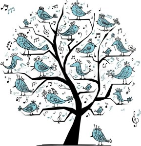 Birds chirping in the tree, illustration