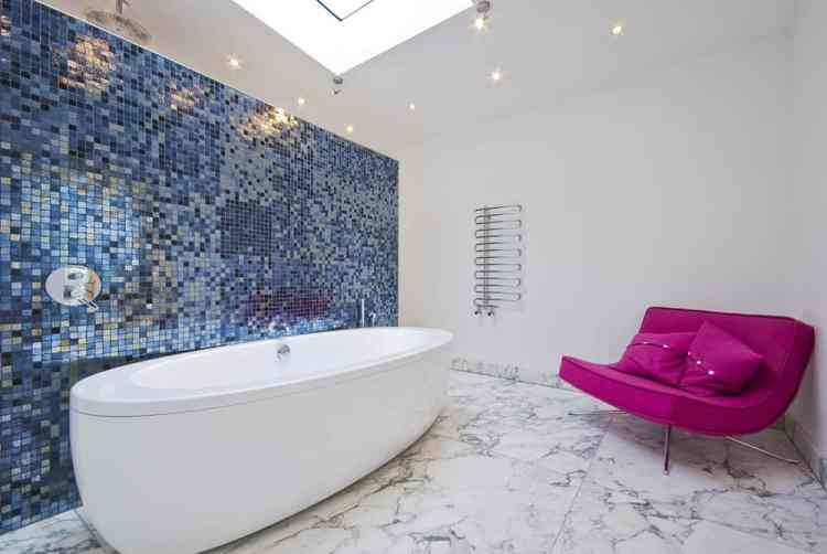 interior bathroom free-standing bath tiles marble pink chair luxury
