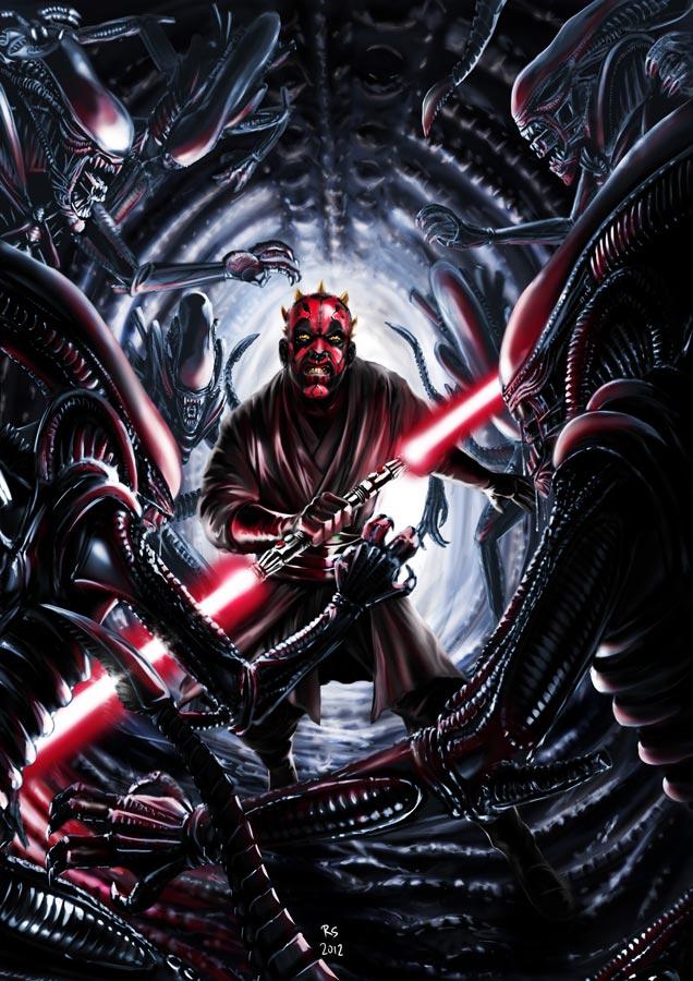 darth_maul_vs_aliens_by_rhymesyndicate-d4n26rr
