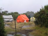 First night camp not so much fun with the rain...everthing, including us was wet