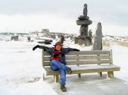 A sitting Inukshuk in Churchil Canada