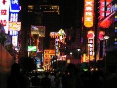 Illuminated Nanjing Street in Shangai