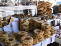 Koulouri (sesame bread rings) sellers can be found on the street corners..very popular for breakfast