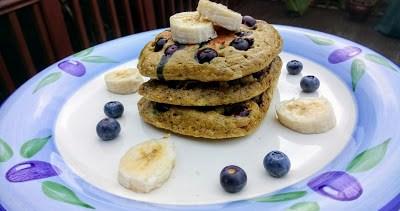 Blueberry lemon matcha pancakes with lemon butter drizzle Breakfast Dinner Lunch Popular
