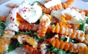 Cheesy chilli squash chips with poached eggs Dinner Grainfree Lunch