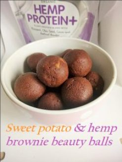 Sweet potato hemp protein brownie beauty balls Desserts energy balls Grainfree snack vegan