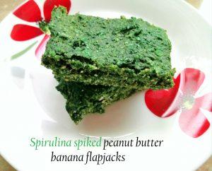 Spirulina spiked peanut butter banana flapjacks Breakfast Lunch snack vegan