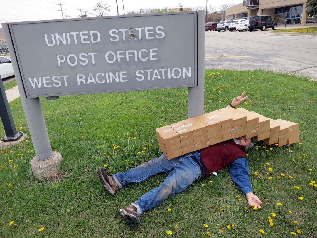 Author Robert M. Katzman at the Post Office in Racine Wisconsin.
