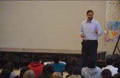 Dj Tialavea of the Atlanta Falcons speaking at West Jordan School